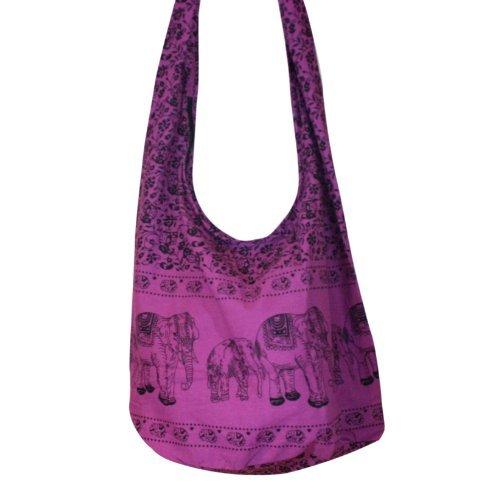 Hippie Elephant Sling Crossbody Bag Shoulder Bag Purse Thai Top Zip Handmade New Color : Purple