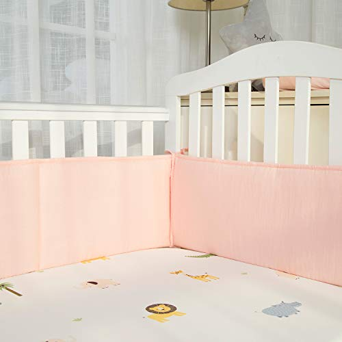 Designthology Baby Breathable 100% Cotton Muslin Crib Bumper Pads for Standard Cribs Machine Washable Padded Crib Liner Protector, Peachy Pink, 4-Pieces