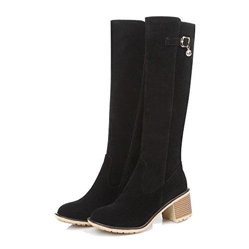 Heels Shoes Closed Toe Women's High Black Zipper Suede Top AgeeMi Round Kitten Boots TxIdU6wUnY