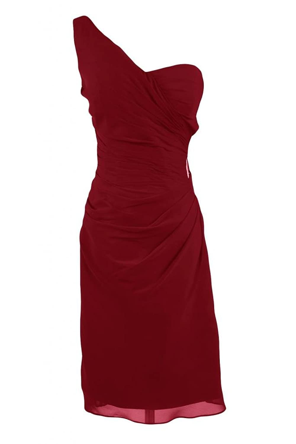 Sunvary Sexy Sheath Cocktail Party Dresses One-Shoulder Short Chiffon Homecoming Dresses