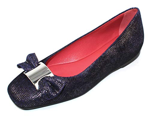 Pas De Rouge Women's Donata B1822 in Dark Blue Goffrato Embossed Suede/Nickle Ornament - Size 37.5 M
