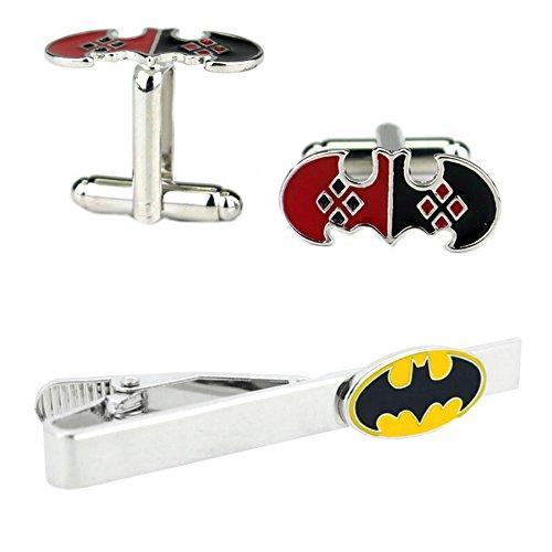 Outlander DC Comics - Harley Quinn Bat Cufflink & Batman Tiebar - Set of 2 Wedding Superhero Logo w/Gift Box