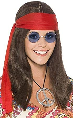 Mens 1970s 60s Hippy Headband Glasses Necklace Fancy Dress Costume Outfit Kit