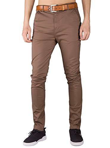 ITALY MORN Men's Chino Stretch Flat Front Casual Pants S Timber (Stretch Weekend Chino Pants)