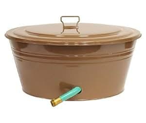 Houston International 6727E CA 23-Inch Steel Garden Hose Pot, Cappuccino