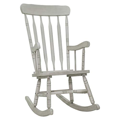 HOMCOM Rubberwood Indoor/Outdoor Porch Slat Rocking Chair - Antique ()