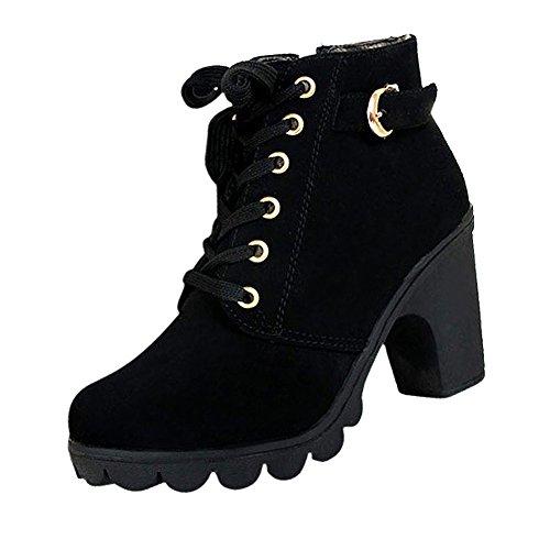 SODIAL(R) Women platform high heel single shoes vintage Motorcycle Boots Martin Boots Black US7 (38) L4N7C