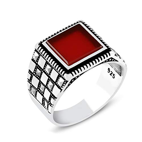 Chimoda Mens Rings Turkish Handmade in 925 Sterling Silver with Red Agate and Marcasite Stones (9.5) ()