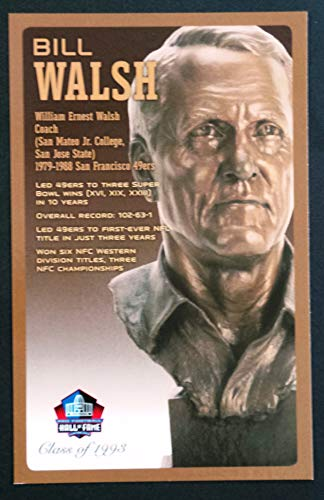 PRO FOOTBALL HALL OF FAME Bill Walsh NFL Bronze Bust Set Card Postcard (Limited Edition #93 of 150)
