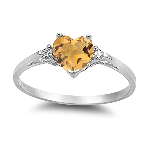 - 925 Sterling Silver Faceted Natural Genuine Yellow Citrine Heart Promise Ring Size 6