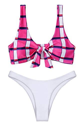 Lemonfish Women's Bikini Swimsuit Tie Knot Front Swimwear Set 2 Pieces Bathing Suits(Pink Plaid,S)