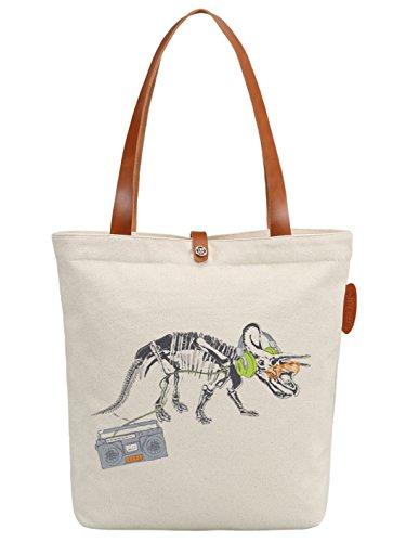 IN.RHAN Women's Dinosaur Music Canvas Tote Bag Casual Shoulder Bag Handbag