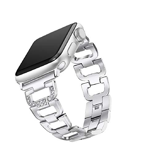 APRLY Bling Band Compatible Apple Watch Band 42mm 44mm, Rhinestone Stainless Steel Metal Replacement Accessories Wristband Strap for iWatch Series 4, Series 3, Series 2, Series 1 (Silver)