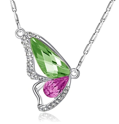 Eliana and Eli Packing - Butterfly Kisses Butterfly Wings Made with Green and Pink Austrian Crystals Rhinestone Design Women Girls Jewelry Pendant Necklace for Women Gifts for Mom