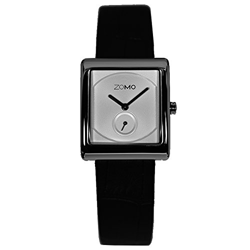 ZOMO Aroma Designer Watches for Women-Analog Swiss Quartz Classic Watches - Stainless Steel Rectangle Small Second Dress Watch with Silver dial and Black leather Strap Rectangle Swiss