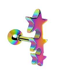 Rainbow Triple Star Cartilage Tragus Earring