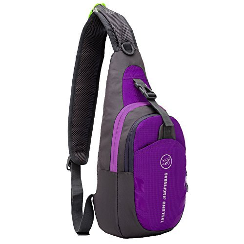 Peicees Waterproof Sling Bag Crossbody Chest Pack one shoulder backpack Sport Outdoor for Men and Women Teen Boys and Girls Purple