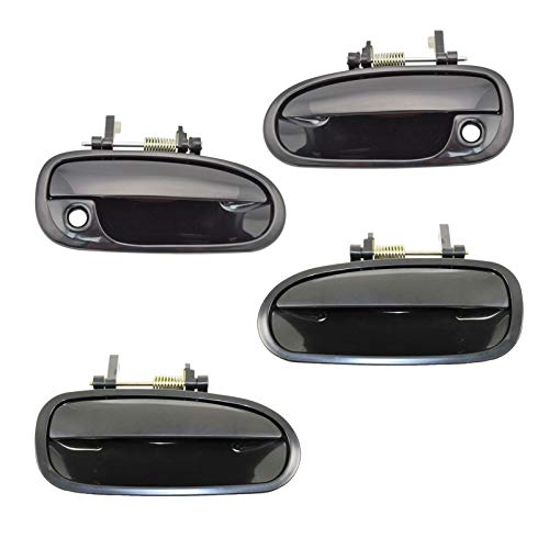 Door Handle Front & Rear Outside Outer Black Kit Set of 4 for 96-00 Honda Civic