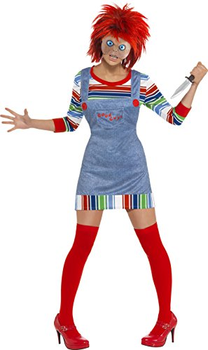 Chucky Wigs (Smiffy's Women's Chucky Costume, Jumper, Dungarees, Mask & Wig, Size: 12-14,)