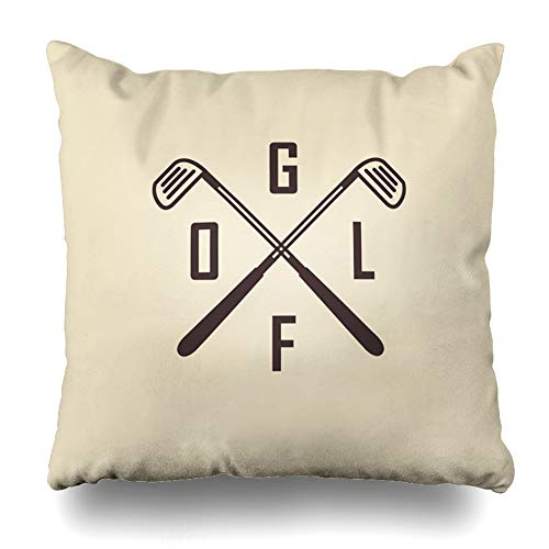 Old Vintage Golf Balls - Ahawoso Throw Pillow Cover Square 16x16 Inches Retro Emblems Two Crossed Golf Clubs Ball Artwork Sports Recreation Vintage Certificate Badge Best Cushion Case Home Decor Pillowcase