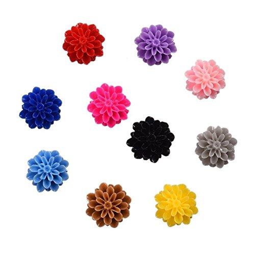 14 Mm Flower (Funnytoday365 Multi Colors Cabochon Scrapbook Mum Flowers 100Pcs Set Retro Style 14Mm Good Resin Flower Accessories)