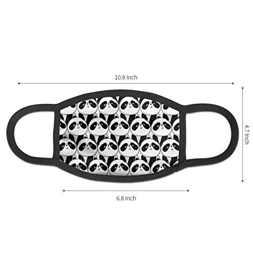 NiYoung Fashion Face Masks Earloop Hypoallergenic Half Face Mouth Mask for Pollen Smog Medical Cleaning, Women Men Kids - Healthy (Cute White and Black Panda Animal Patterns Mouth Mask)
