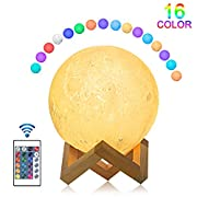 3D Moon Lamp,JOLVVN 16 Colors 3D Printing Moon Light,Rechargeable & Dimmable Globe Home Decorative Light with Remote & Touch Control for Baby Kids & Christmas Birthday Gifts (5.9in)