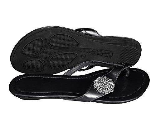 Embellished Couture (Peach Couture Floral Embellished Summer Dressy Slip on Summer Flat Sandal Shoes Black 9)
