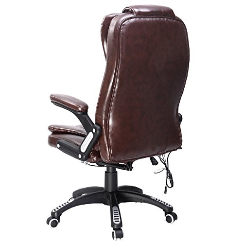 COLIBROX--Executive Ergonomic Computer Desk Massage Chair Vibrating Home Office New Color: Brown Voltage 110V Material: PU leather and PVC Load capacity: 396 LBS Seat size: 20.86