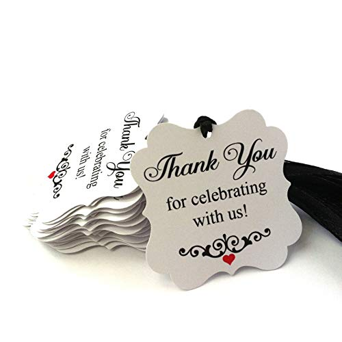 (Thank You for Celebrating with Us Favor Tags - Wedding Engagement Anniversary Party - Set of 24)