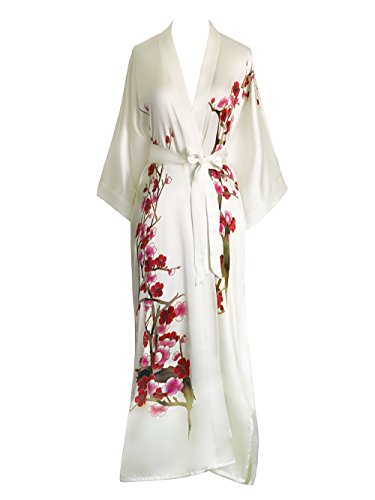 Old Shanghai Womens Silk Kimono Long Robe - Handpainted - Cherry Blossom White,One Size.