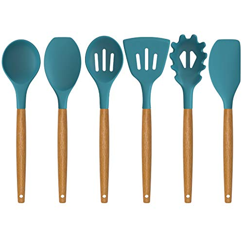 Silicone Kitchen Utensils Set Deedro 7 Pieces Cooking Utensils Set Silicone Spatula Set With Natural Acacia Wooden Handle High Heat Resistant Kitchen Gadgets Tools Set Blue Pricepulse