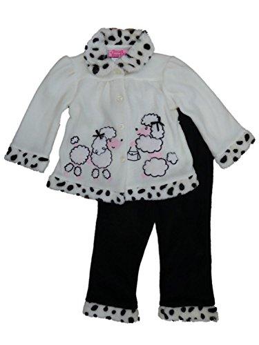 Young Hearts Infant Girls Baby Outfit White & Black Fleece Poodle Dog Jacket & Pants Set 24m - Poodle Black Fleece