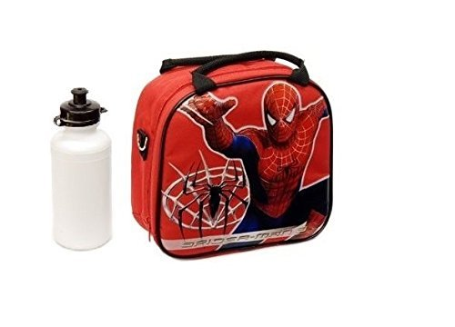 New Marvel Spider-man Lunch Box Bag with Shoulder Strap and Water Bottle!! Red]()