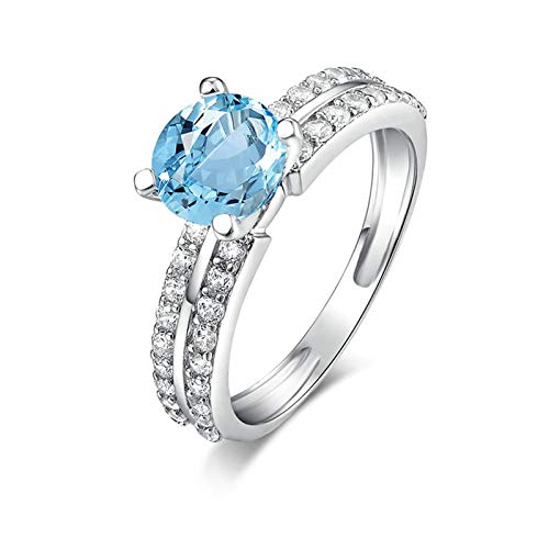 Adisaer-Engagement Ring 925 Sterling Silver Plated Solitaire for Women LW 7X7Mm Round Topaz Blue Ring Size 4.5