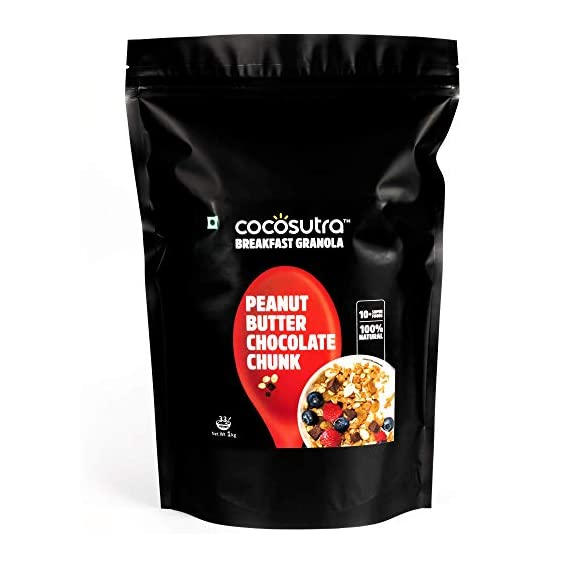 Cocosutra Granola Peanut Butter Chocolate Chunk, Breakfast Cereal with Oats, Nuts, Seeds and Dry Fruits, 1 kg