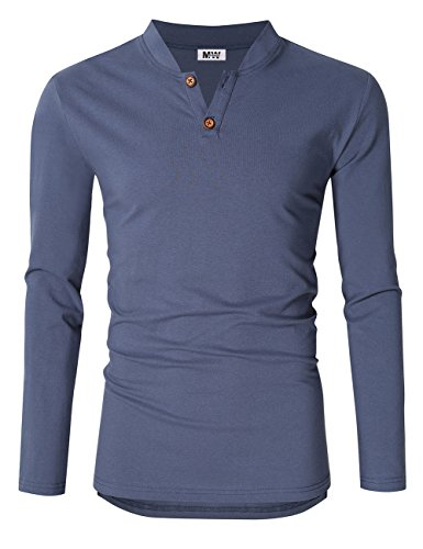 Kuulee Men's Casual Linen and Cotton V Neck Long Sleeve Henley T-Shirts (L, Blue) (Go Linen Pants Silk)