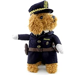 SMALLLEE_LUCKY_STORE Funny Cat Halloween Costume Dog Police Costume with Hat Pet Outfits Puppy Holiday Clothes Size XS