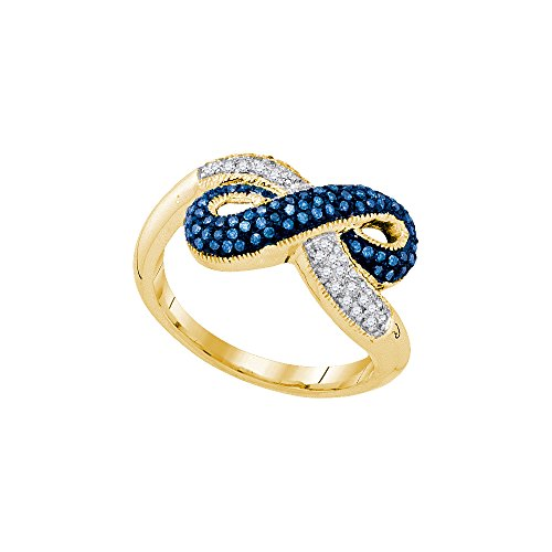Solid 10k Yellow Gold Round Blue And White Diamond Prong Set Infinity Fashion Ring (.36 cttw)