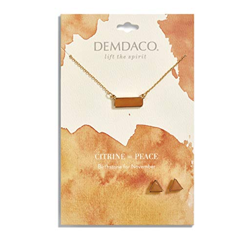 DEMDACO November Topaz Women's Natural Stone Gold-Plated Birthstone Necklace & Earrings Set