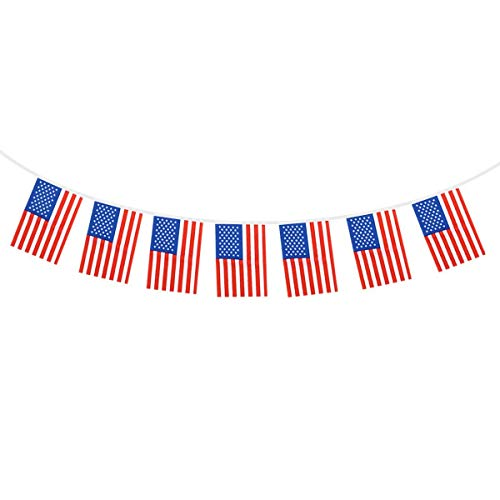 Soochat 4th of July Banner American Flag Banner USA American String Pennant Banners, Independence Day Decoration (20 Flags) ()