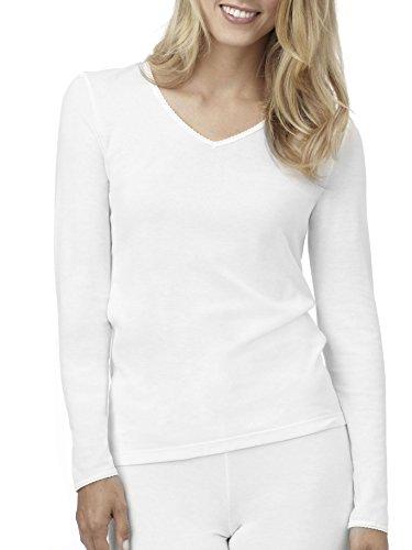 Cuddl Duds Climatesmart Long Sleeve V-Neck - White, 2XLarge