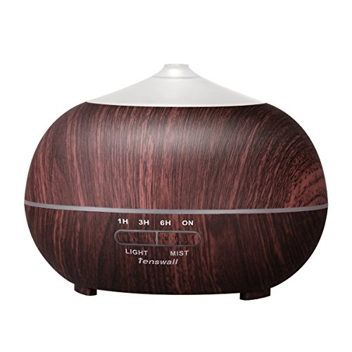 Tenswall 400ml Cool Mist Humidifier, Ultrasonic Aromatherapy Essential Oil Diffuser – Whisper Quiet Operation – Black Wood Grain Color-Changing LED Light & Auto Shut-Off Function – 4 Timer Settings