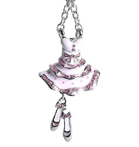 Lilly Rocket Pink Enamel Ballerina Dress and Shoes Key Chain with Swarovski Crystals -