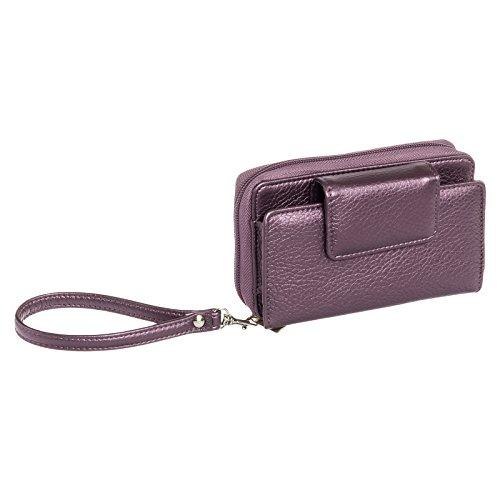 Buxton Womens RFID Identity Safe Wristlet Clutch Wallet (Plum)