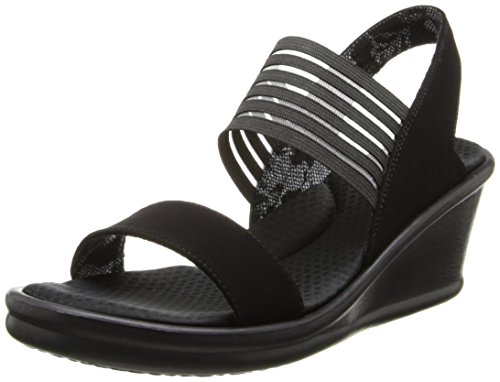 Skechers Cali Women's Rumblers-Sci-Fi Wedge Sandal,Black,7 M US