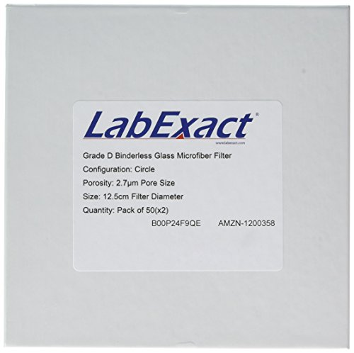 LabExact 1200358 Grade D Glass Microfiber Filter, Binderless Borosilicate Glass, 2.7µm, 12.5cm (Pack of 100) by LabExact