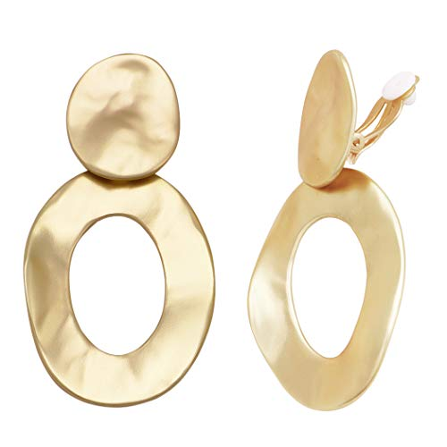 Rosemarie Collections Women's Statement Matte Finish Hammered Metal Disc Oval Hoop Dangle Clip on Style Earrings (Gold Tone)