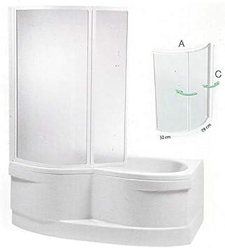 Mampara 110 x 135 cm ducha bañera 110 x 135 cm (LXH) Mampara de bañera 2 piezas redondo – cejlon: Amazon.es: Bricolaje y herramientas