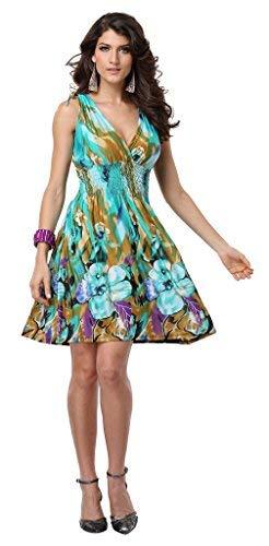 (JINHUANSHOW Women's Spring Summer Casual Low-Cut V-Neck Prints Sundresses(Small,Color3))